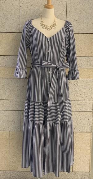 Stripe Tiered Dress(Ladys)