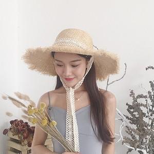 【小物】日焼け防止レース合わせやすい草編み帽子ハット