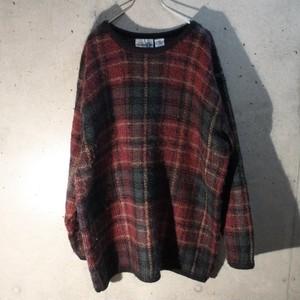 Mohair acrylic check knit