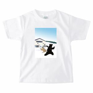 スキー場 クマ キッズ Tシャツ