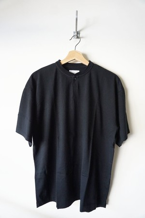 Suvin Cotton Henley Neck T-shirt [ Black ]
