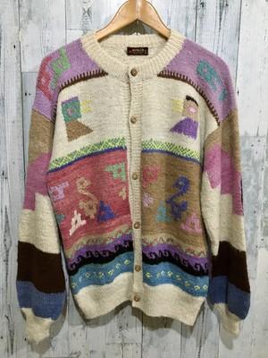 ペルー製100%アルパカ編み込み柄物ニットカーディガン鳥