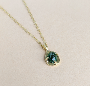 Green Tourmaline 'START' Necklace