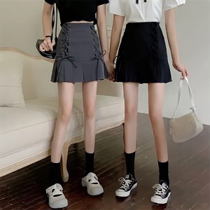 lace up ribbon skirt 2color