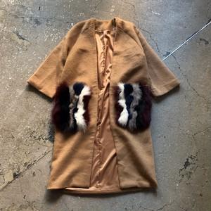 Check Wool Coat  Color :  Camel