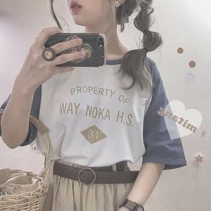 【トップス】アルファベット春夏シンプル配色カジュアルラウンドネック半袖Tシャツ