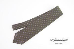 ステファノビジ|STEFANO BIGI|シルクリネン小紋柄ネクタイ|カーキ