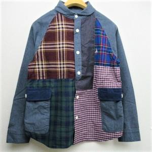 Men's go slow caravan ネルチェックシャンブレー切替パッチワークシャツ  COL,NAVY
