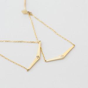 ロッド K10イエローゴールド  ダイヤモンドチェーンピアス