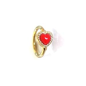 K18YG body jewelry #0004 VINTAGE HEART RING Red ヴィンテージハートリングボディピアス・赤/18金イエローゴールド