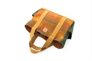 帯トートバッグ大 / オレンジ・緑(W0107)着物・帯・正絹使用