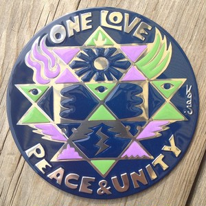One Love Peace & Unity (Metal Magnet)