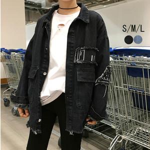 デニム ジャケット ジージャン アウター ダメージ加工 韓国風 刺繍 カジュアル 体型カバー