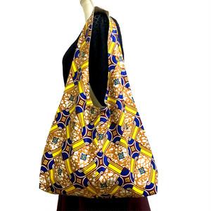 ガーナ産布地のリバーシブルマルシェバッグ「ラピス」①オークル×イエロー×ブルー(日本縫製)|肩掛けバッグ 布バッグ エコバッグ アフリカン エスニック