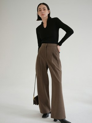 """nude"" wide leg trousers / gray brown & light gray"