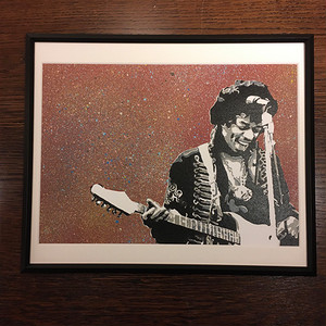 【JIMI HENDRIX】Stencil Picture(額付き)/ Sprayed  Red