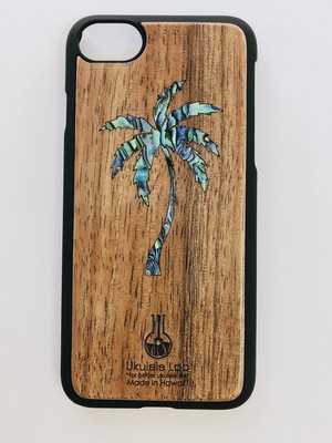 アイフォンケース ヤシの木 貝 シェル iPhone7 iPhone8 ウクレレ・ラボのコアの携帯ケース uk-106