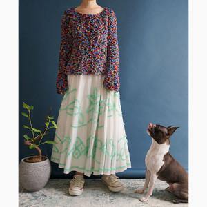 """【送料無料】""""BY MALENE BIRGER"""" Pastel Green Ruffles With Ivory Circle Skirt"""