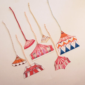Hand Cut Circus Tent Gift Tags