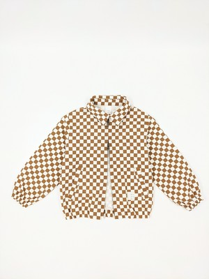 Kids Checkered Jacket - Beige