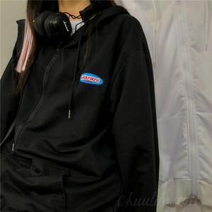 【アウター】韓国系フード付き長袖ボウタイジッパージャケット41645576