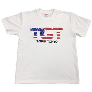 TGTアメリカンロゴ ドライメッシュシャツ(ホワイト)