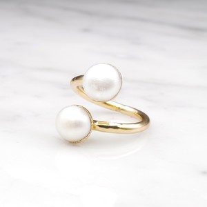 DOUBLE PEARL OPEN RING 01