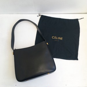 CELINE black × gold side logo buckle shoulder bag