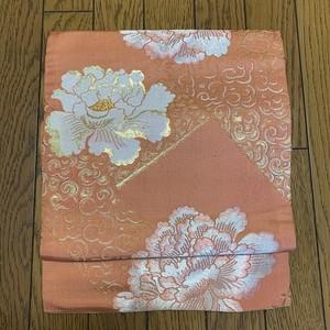 【お値下げしました】帯 アンティーク正絹九寸名古屋 サーモンピンクに花牡丹の刺繍