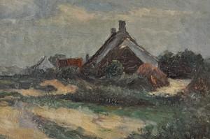 油絵 草原の家