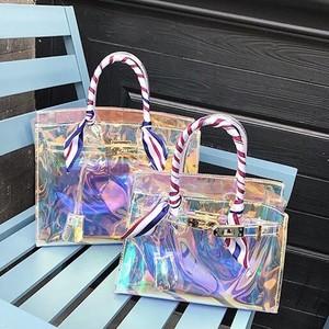 PVCバッグ クリアバッグ 金具ゴールド/ピンク ポーチ&スカーフSET 2サイズ