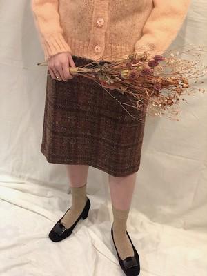 tweed check tight skirt