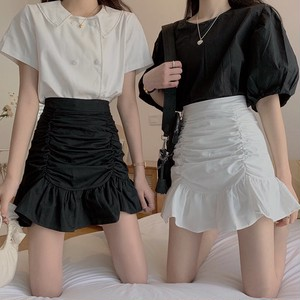 crease effect skirt 2color