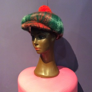60〜70's  red×green check wool cap[B1309]