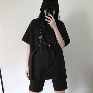 【セットアップ】ストリート系春夏レトロファッション半袖POLOネックロングシャツ+バンド飾りセットアップ