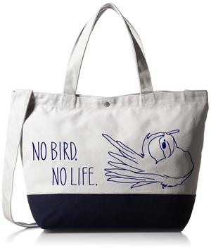 NO BIRD NO LIFE オカメインコ 3WAYバッグ グレー&ネイビー【チャリティー対象商品】