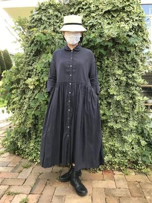 Gauze#  スイッチングギャザーシャツワンピース FADE BLACK