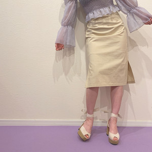 【lottie made】natural slit skirt (AP39F1007)