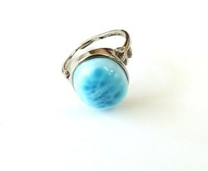 高級石「 ラリマール 」高品質リング(指輪) フリーサイズ R-4