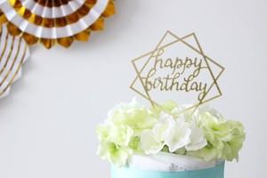 【ケーキトッパー】写真映え間違いなし!!HAPPY BIRTHDAY(スクエア)