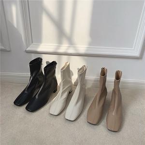 3color:Center stitch Square toe Soft Fit boots 92046  エコレザー ブーツ スクエアトゥ ソックスブーツ