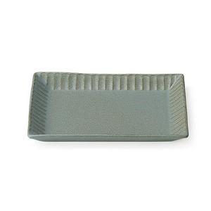 「ライン」 トーストプレート 皿 長幅20cm グレー 美濃焼 287171