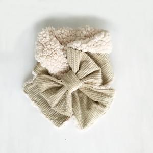 リボンマフラー(ホワイティグレーのコーデュロイ × オフホワイトのプードルファー)