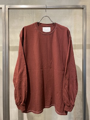TrAnsference loose fit long sleeve T-shirt - dark red garment dyed