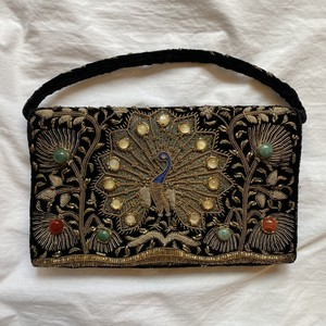 "Gold thread ""Party"" Hand Bag #01 -Peacok Pattern-"