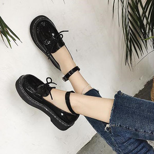 【flat-shoes】Korean style students  thick-bottom loafer