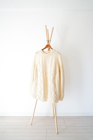"【1980-90s】""Fisherman Sweater"" Vintage Wool Knitting / v350"