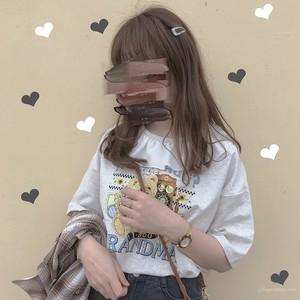 【トップス】動物柄プリント春夏キュート韓国風カジュアル切り替え五分袖Tシャツ