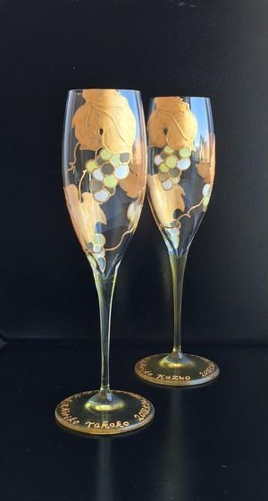 【金葡萄】マスカットシャンパングラス1つ|両親贈呈品・両親プレゼント・結婚祝い・還暦祝い・退職祝い・新居祝い・誕生日