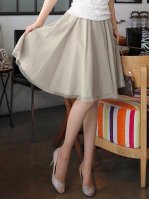 【bottoms】Ladies elastic waist ruffled chiffon skirt